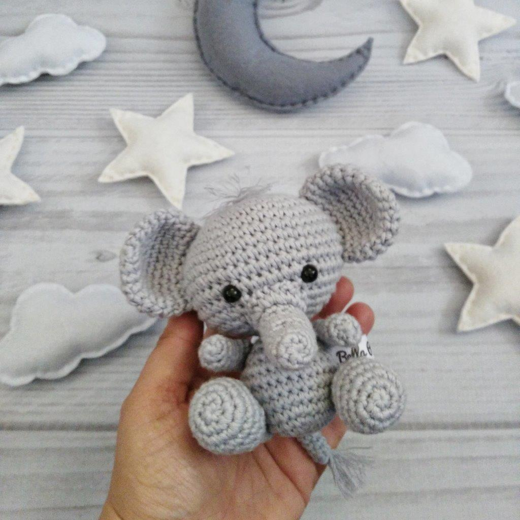 4e11fe1258 Ellie Elephant Heirloom Nursery Mobile - Bella Poppelina - Handcrafted  Crochet Toys and Clothing